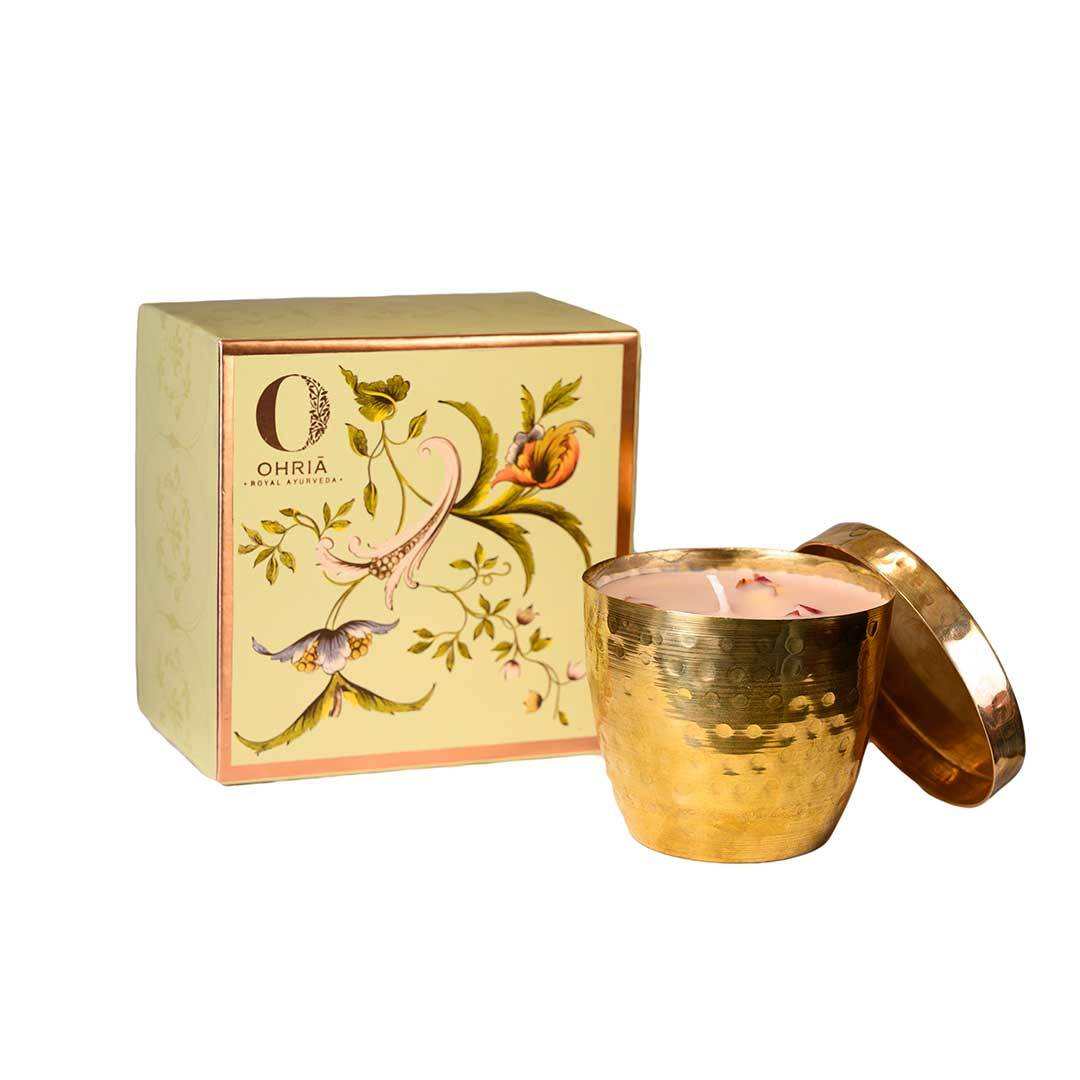 Ohria Ayurveda Rose and Oudh, Luxury Copper Candle -1