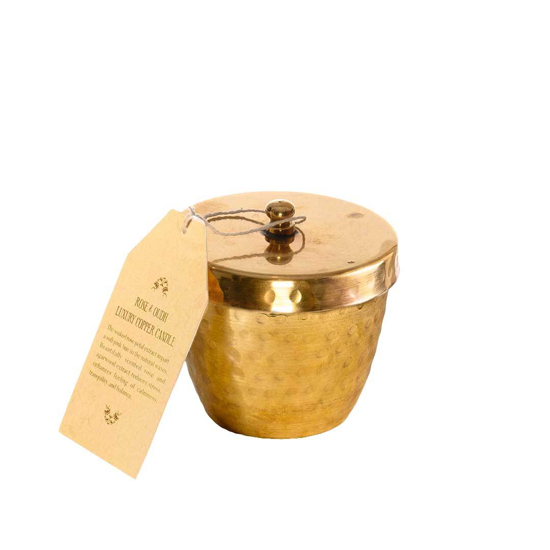 Ohria Ayurveda Rose and Oudh, Luxury Copper Candle -2