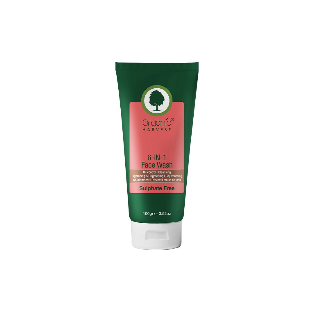 Organic Harvest 6-In-1 Gel Based Face Wash for Oil Control, Cleansing, Lightening, Brightening, Rejuvenating and Nourishment