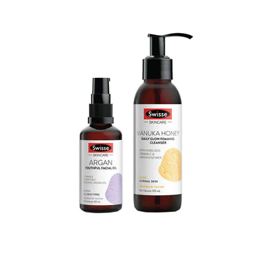 Vanity Wagon | Buy Swisse Beauty combo -Manuka Honey Daily Glow Foaming Cleanser + Argan Youthful Facial Oil