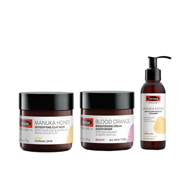Vanity Wagon | Buy Swisse Daily Essential Combo-Manuka Honey Clay Mask + Manuka Honey Glow Foaming Cleanser + Blood Orange Cream Moisturiser