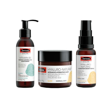 Vanity Wagon | Buy Swisse Vitamin rich Hydration combo-Vitamin B3 Blemish Controlling Moisturiser + Hyaluro-Natural Intensive Hydrating Mask + Hyaluro-Natural Hydration Boost Serum