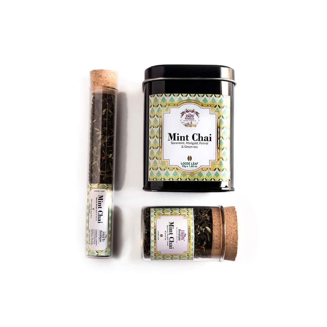 The Herb Boutique Mint Chai with Spearmint, Marigold, Fennel and Green Tea -2