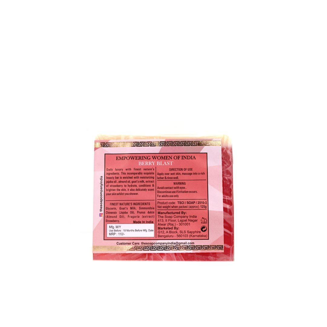 The Soap Company India Berry Blast Beauty Bar with Strawberry, Milk, Jojoba and Almond Oil -2