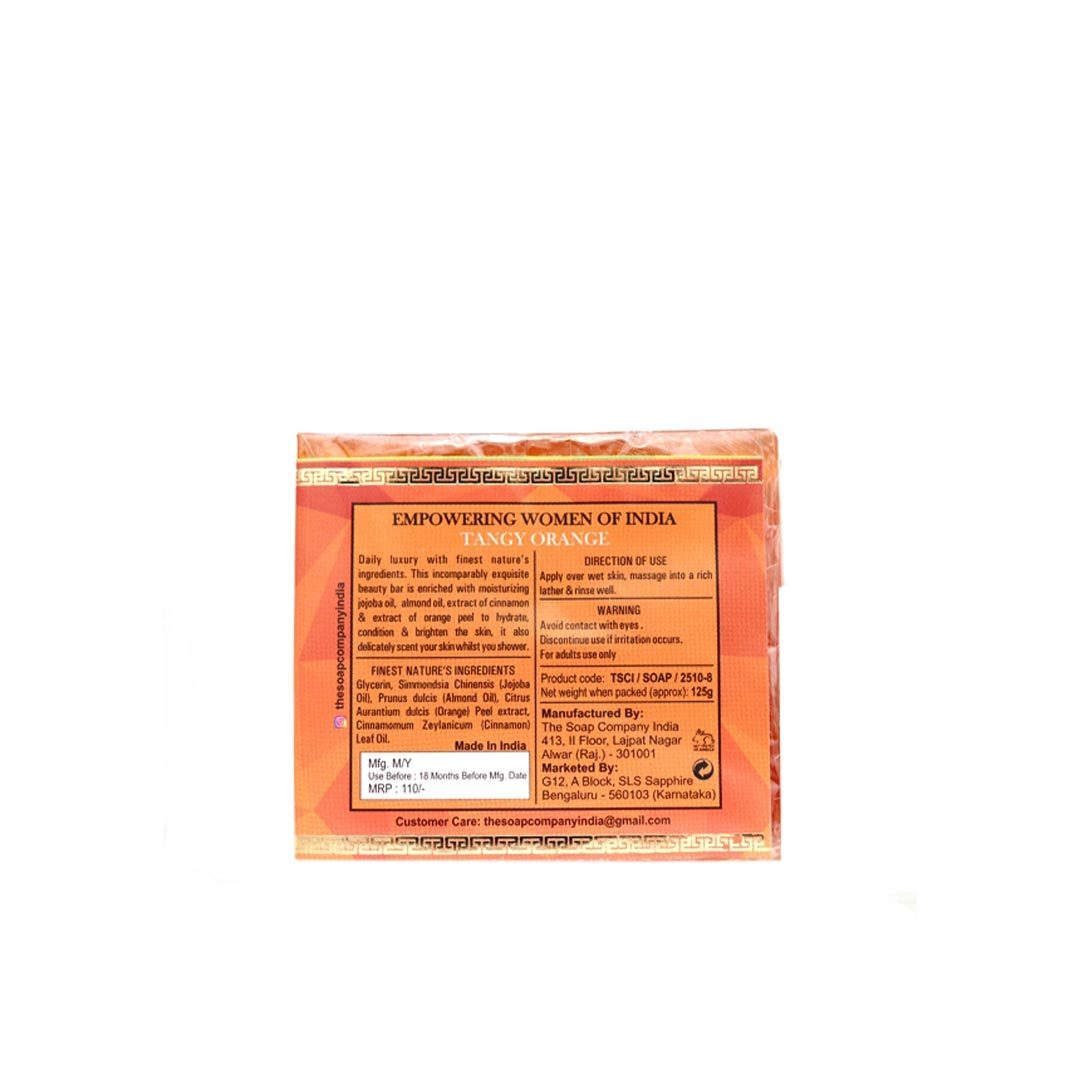 The Soap Company India Tangy Orange Beauty Bar with Orange Peel, Cinnamon, Jojoba and Almond Oil -2