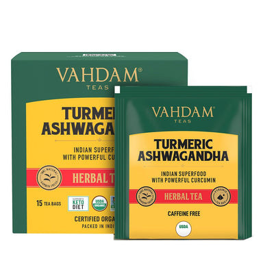 Vanity Wagon | Buy Vahdam Teas Turmeric Ashwagandha Herbal Tea Tisane