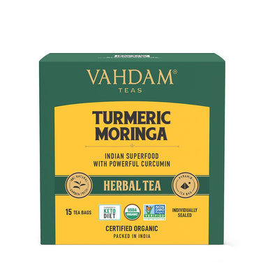 Vanity Wagon | Buy Vahdam Teas Turmeric Moringa Herbal Tea Tisane