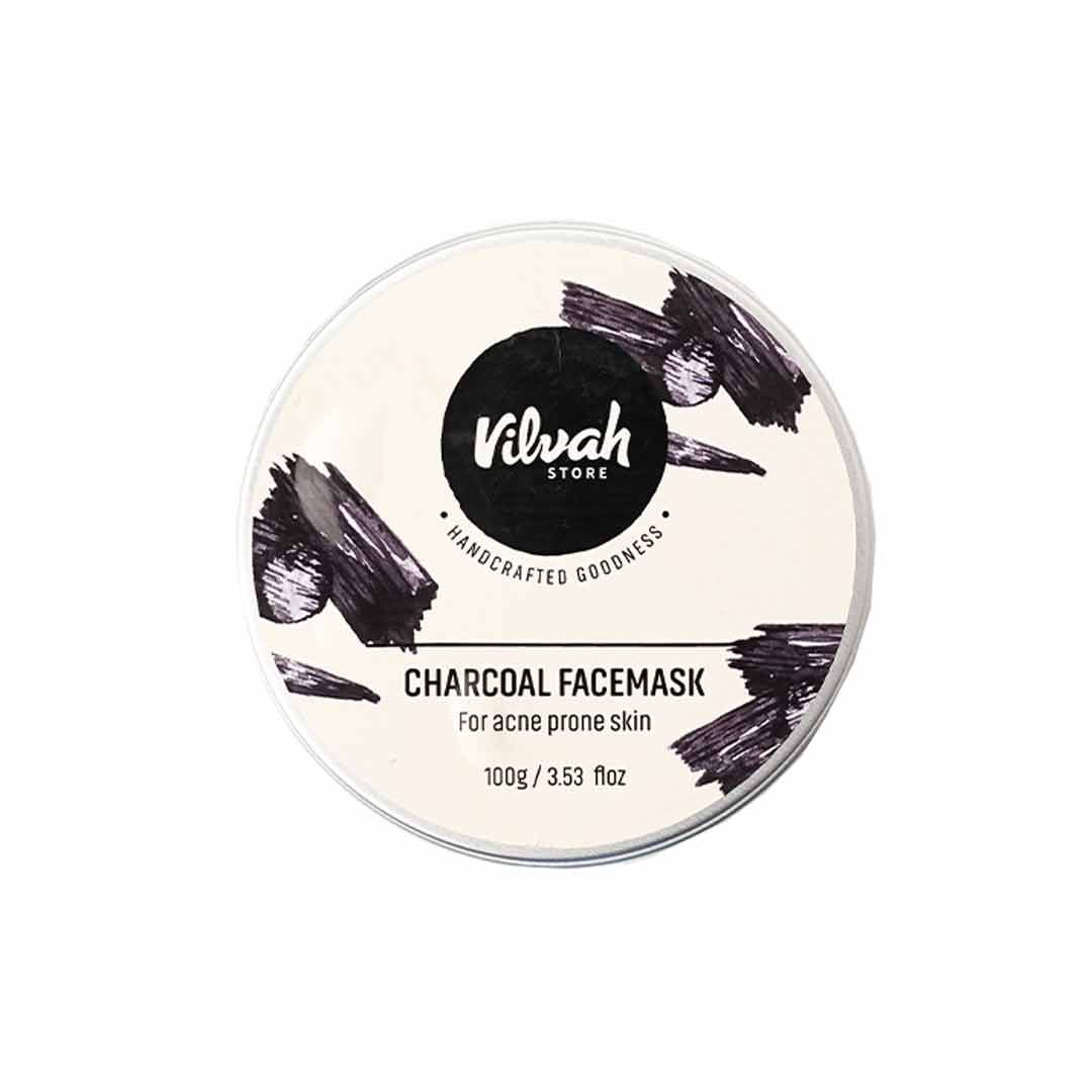 Vilvah Store Charcoal Facemask, Aloe Vera Gel, Kaolin Clay & Activated Charcoal
