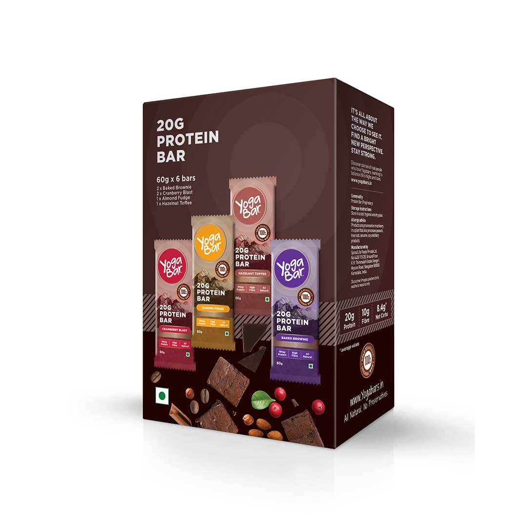 Yoga Bar 20gm Protein Bar Variety Box (Baked Brownie, Cranberry Blast, Almond Fudge, Hazelnut Toffee) Box of 6 Bars - 60gm X 6 Bars - Front View