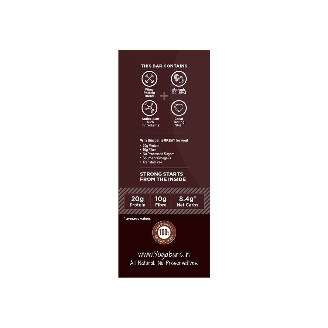 Yoga Bar 20gm Protein Bar Variety Box (Baked Brownie, Cranberry Blast, Almond Fudge, Hazelnut Toffee) Box of 6 Bars - 60gm X 6 Bars - Side View 2