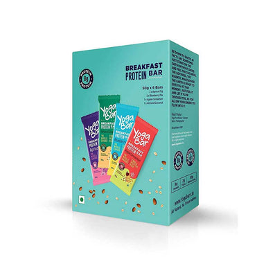 Yoga Bar Breakfast Protein Bar Variety Box (Almond Coconut, Apricot Fig, Blueberry Pie, Apple Cinnamon Bars) Box of 6 Bars - 50gm X 6 Bars - Front View