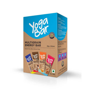 Yoga Bar Multigrain Energy Bar Variety Box (Vanilla Almond, Orange Cashew, Chocolate Chunk Nut, Nuts and Seeds) Box of 10 Bars - 38gm X 10 Bars - Front View