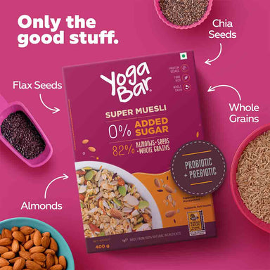 Vanity Wagon | Buy Yoga Bar Super Wholegrain Muesli with Almonds + Seeds, 0% Sugar