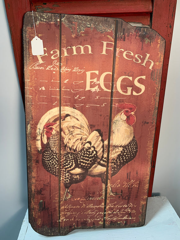 Wooden chicken sign