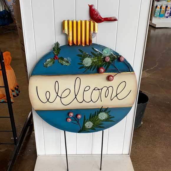 Welcome ornament metal sign with cardinal on top
