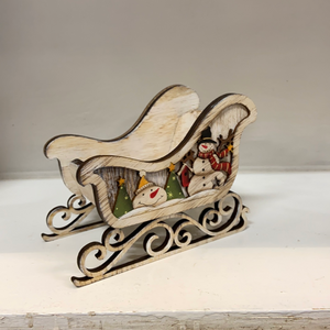 Holiday Sleigh Wood with Snowmen Small