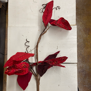 Holiday Farm Section Decor 4' Tree Pick Red Glittering Leaves