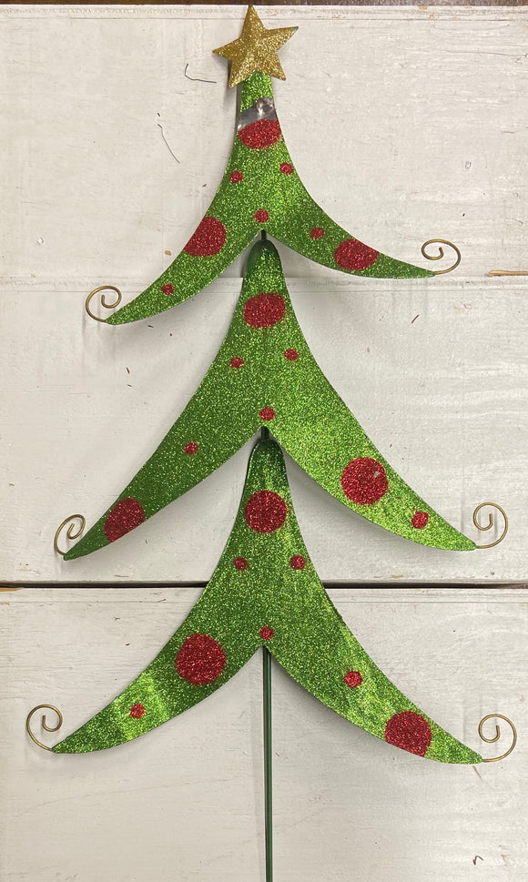 "Holiday Farm Section Decor 3"" Green Glittering Tree with Red Spots"
