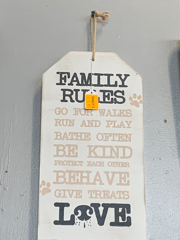 Sign: Family Rules...