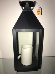 15 inch metal lantern with battery operated 6 inch LED timer candle