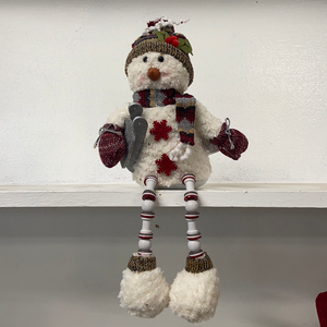 Holiday Snowman Decor Snowman with Beaded Legs holding a Sled