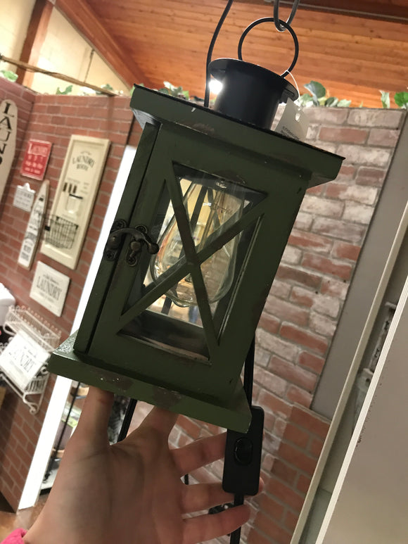 Rustic wooden lantern with turn on switch
