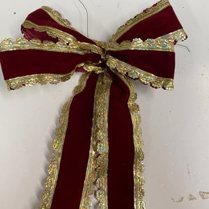 Gold and maroon velvet holiday bow