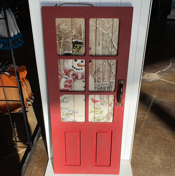 31in red door with snowman wood hanging sign