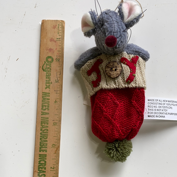 Holiday Mouse in upside down joy hat ornament