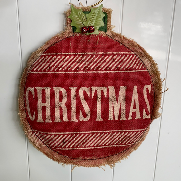 12in burlap holiday Christmas ornament with metal swirl hook