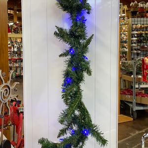 9ft 70 LED blue lit garland