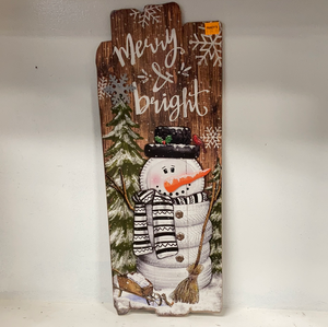 "Holiday "" Merry & bright"" w/snowman Wall Hanging"