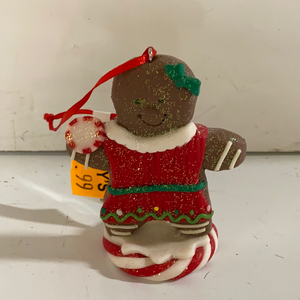 "Holiday Candy Section Ornament 4"" Gingerbread Man on a Peppermint"