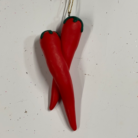 Holiday Farm Section Ornament Two Hot Red Peppers