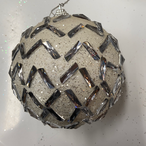 Holiday Snowflake Ornament Shimmering Snowball Covered in Silver Gems 5""