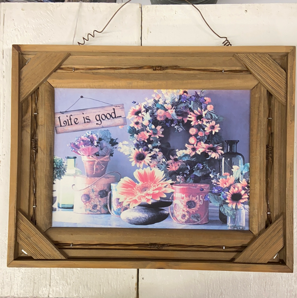 "Farm Section Decor Wooden Framed Image of Sunflowers ""Life is good..."""