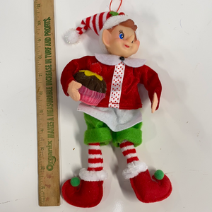 10in holiday elf holding cupcake