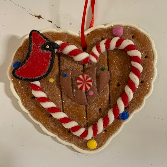 "Holiday Candy Section Ornament 3"" Gingerbread Heart with Cardinal"