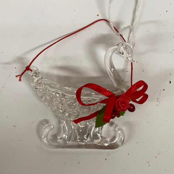 Holiday Crystal Section Crystal Swan Sleigh with Red Bow