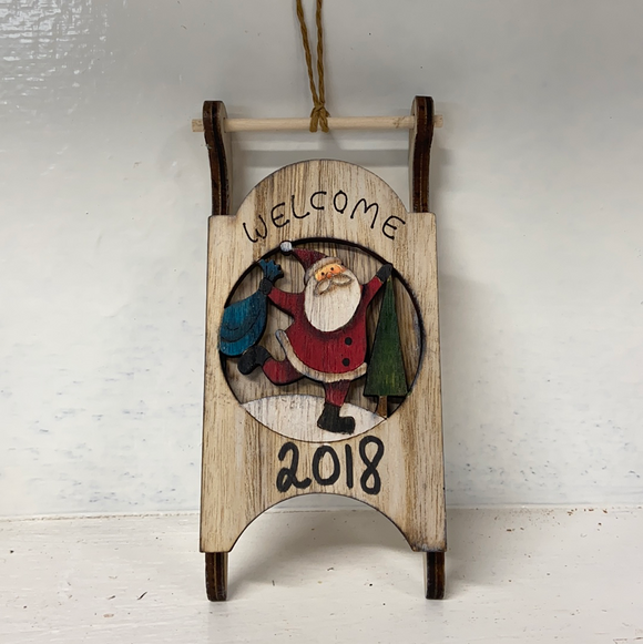 "Holiday Snowman Decor Wood Sled with Santa and ""Welcome"""