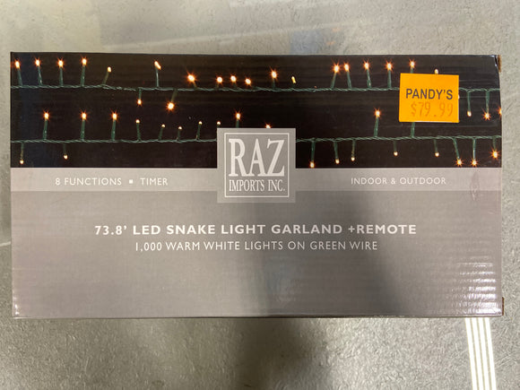 Holiday Lights 73.8' LED Snake Light Garland and Remote Warm White