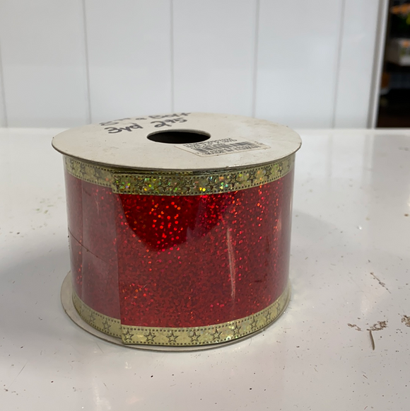 Red sparkly with gold edging ribbon