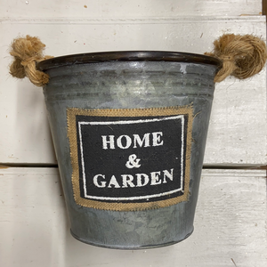 "Farm Section Decor 7.5"" Tin Bucket ""Home & Garden"""