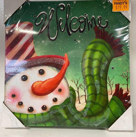 "Holiday Snowman Decor LED Lighted Canvas of Snowman and ""Welcome"""