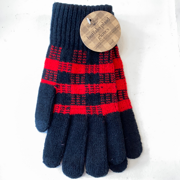 Black and red plaid Buffalo gloves