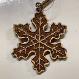 "Holiday Candy Section Ornament 2"" Gingerbread Snowflake"