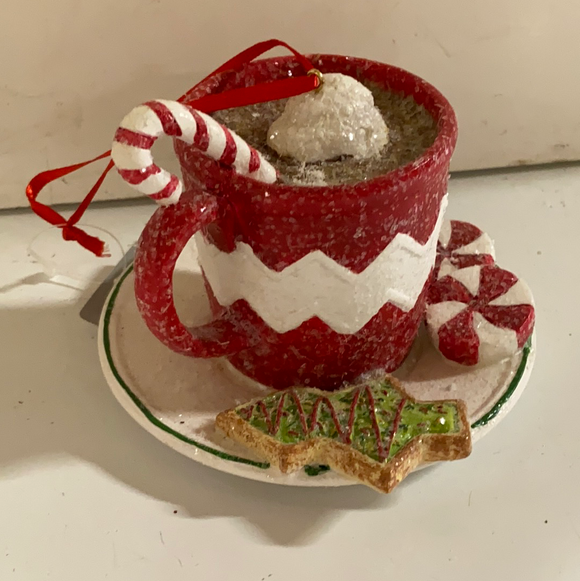 "Holiday Candy Section Ornament 4"" Hot Cocoa with Peppermints"