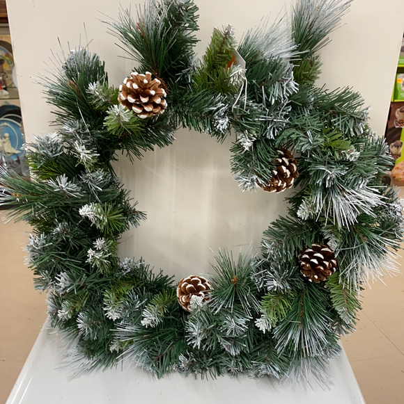 "Holiday Wreath 18"" Pine Wreath with Pinecones"