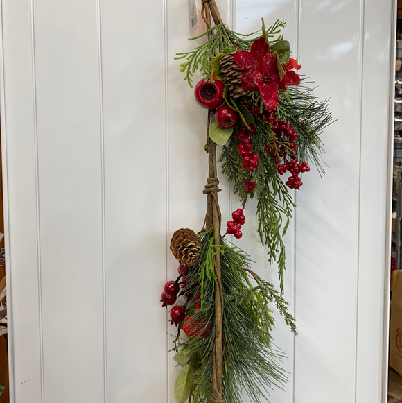 4ft mixed berries flowers and pinecone garland