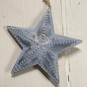 "Holiday Farm Section Decor 8"" Silver Star Ornament"